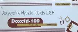 A box of generic Doxycycline 100mg tablet