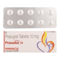Box and blister strip of generic Prasugrel 10mg tablets