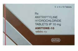 A box of generic amitriptyline 10 mg tablets