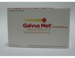 Box of generic vildagliptin 50 mg, metformin hydrochloride 1000 mg Tablets