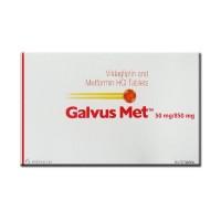 Box of generic vildagliptin 50 mg, metformin hydrochloride 850 mg Tablets