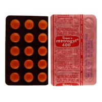 Back and front of generic blister strip of metronidazole 400mg tablet