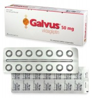 A box and front, back side of a strip of generic Vildagliptin 50mg tablets