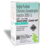 Box of generic Human chorionic gonadotrophin ( HCG ) Hucog 2000 i.u. Highly Purified
