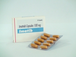 A box and a strip pack of generic Imatinib Mesylate 100mg Tablets