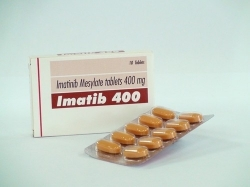 A strip pack and box pack of Imatinib Mesylate 400mg Tablets