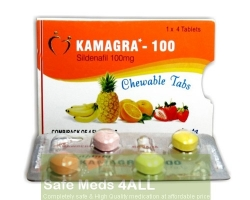 A box and a blister of generic Viagra (Kamagra) Chewable Tablets 100mg - Sildenafil Citrate