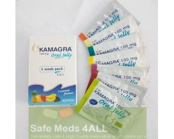 A box and few sachets of generic Viagra (Kamagra) Oral Jelly 100mg Week Pack with 7 flavours