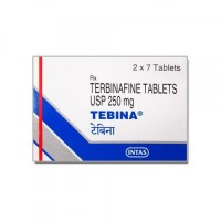 A box of generic terbinafine 250mg tablets