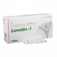 Box and blister strip of generic Levosalbutamol (1mg) Tablet