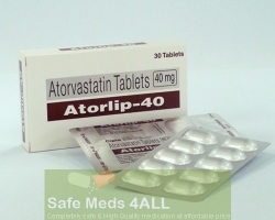 A box and a blister pack of generic Atorvastatin Calcium 40mg tablets