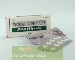 A box and a blister pack of generic Atorvastatin Calcium 5mg tablets