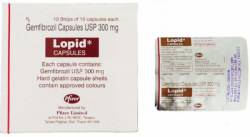 Box and blister of generic Gemfibrozil 300mg capsules