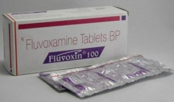 A box and two strips of generic fluvoxamine 100mg tablet