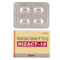 A box and a blister of generic rizatriptan 10mg tablets