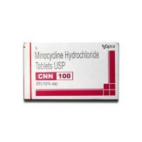 A box of generic minocycline 100mg tablets
