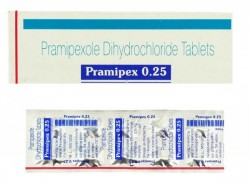 A box and a strip of generic Pramipexole 0.25 mg Tablets
