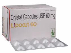 A box and a strip of generic Orlistat 60mg Capsule