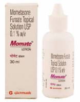 A box and a bottle of generic Mometasone 0.1% Lotion