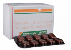 A box and and a strip of generic Mesalamine 800 mg Tablet
