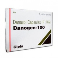 A box of generic Danazol 100mg Capsule