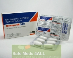 Box and a strip pack of generic Niacin 500mg sr tablet