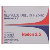 A strip of generic nebivolol 2.5 mg tablets