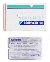 Box and blister strips of generic Famotidine 20mg Tablet
