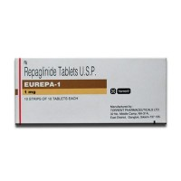 Box of generic Repaglinide 1 mg Tablets