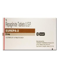 Box of generic Repaglinide 2 mg Tablets