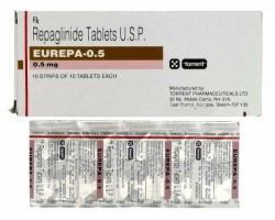 Box and blister strip of generic Repaglinide 0.5 mg Tablets