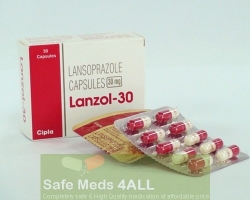 A box and two blisters of Prevacid 30 mg capsules - Lansoprazole