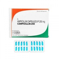 Box and blister strip of generic ampicillin 250mg capsules