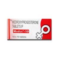 A box of generic medroxyprogesterone 10mg tablets