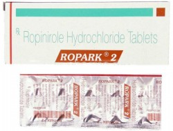 A box and a blister of generic ropinirole 2mg tablets