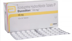A box and a strip of Vasodilan 10 mg Generic tablets - Isoxsuprine