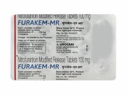 A strip pack of generic Nitrofurantoin 100 mg Tablet