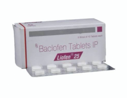 A box and a blister strip of Baclofen 25mg Tablet