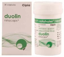 A box of generic Levalbuterol (100mcg) + Ipratropium (40mcg) Rotacaps