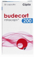 A box of generic Budesonide 200mcg Rotacaps