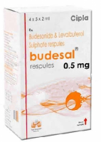 A box of generic Levalbuterol (1.25mg) + Budesonide (0.5mg) Respules