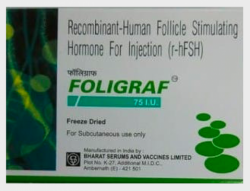 A box of Recombinant Human follicle stimulating hormone 75IU Injection (R-HFSH)