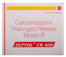 A box of generic Carbamazepine 400mg Tablet