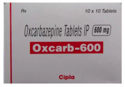 A box of generic Oxcarbazepine 600mg Tablet