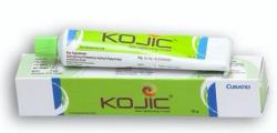 A box and a tube of Kojic acid + Lactokine Fluid  + Axeloglicina Cream
