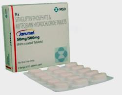 Box and blister strip of generic sitagliptin phosphate 50 mg, metformin hydrochloride 500 mg