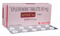 A box and a strip of Inspra 50 mg Generic Tablet - Eplerenone
