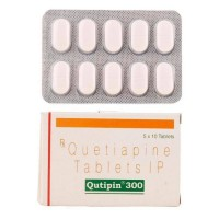 A box and a blister of generic Quetiapine Fumarate 300mg tablets
