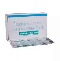 Box and blister strip of generic Quetiapine Fumarate 300mg tablets