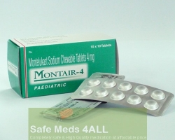Box and two strip packs of generic Montelukast Sodium 4mg tablets